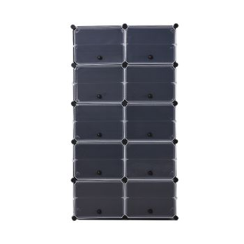 10 Tier Cute Cabinet Stackable Organiser for Shoes in Black