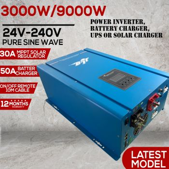9000W PEAK 24V PURE SINE WAVE POWER INVERTER 75A BATTERY CHARGER, MPPT SOLAR