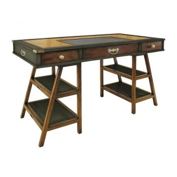 Authentic Models Navigator's Solid Timber Historical Office Writing Desk - Grey