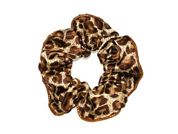 LEOPARD SATIN MEDIUM SCRUNCHIE WITH TRIM