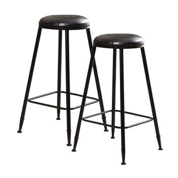 2x Levede PU Leather Industrial Swivel Chair Bar Stools