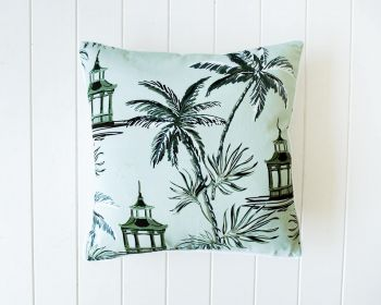 Cotton Cushion - Oriental Palm Oasis Sage - 45x45