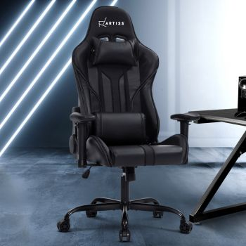 Artiss Gaming Office Chair Computer Chairs Leather Seat Racer Racing Meeting Chair Balck