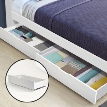 Artiss 2x Single Wooden Bed Frame Storage Drawers Trundle Base Timber White