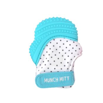 Munch Mitt Teething Mitten Aqua Blue