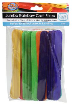 Craft Sticks Rainbow Jumbo 15cm x 1.8cm 40pc