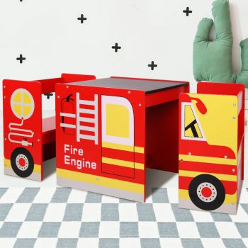 Kids Table and Chairs Wooden w/ Blackboard Childrens Furniture Fire Engine Truck Cars Red