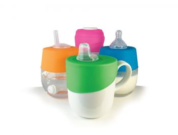 Sippy, Straw and Teat Universal Silicone Stretch Lid Kit – Pink & Orange