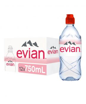 Evian Natural Mineral Water, 12 x 750ml Bottles