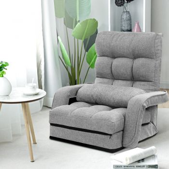 Floor Sofa Lounge Chair Adjustable Recliner Legless Armchair Linen Grey