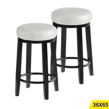 2x Levede 65cms Wooden Kitchen Swivel Bar Stools in Cream Colour