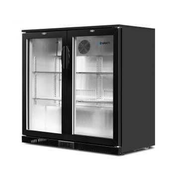 Devanti Bar Fridge 2 Glass Door Commercial Display Freezer Drink Beverage Cooler Black 198L