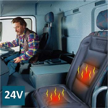 24V, Heated Seat Cover with Lumbar Support, Deluxe Model with Premium Cigarette plug for Truck