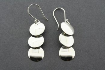 3 x convex circle drop earring - sterling silver