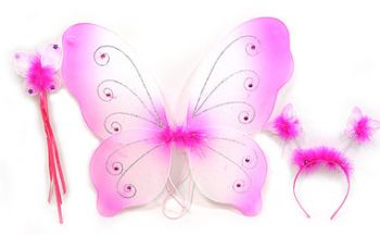 Fairy wings with head band and wand