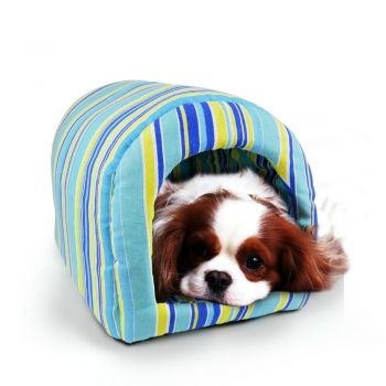 PaWz Portable Pet Kennel Soft Igloo Bed Cave Cushion L in Blue