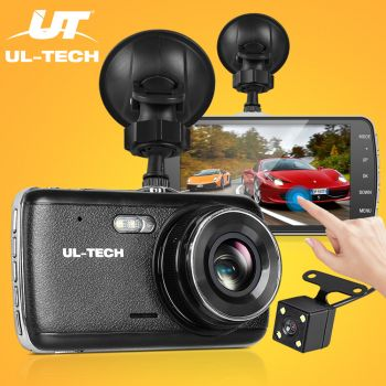 ULTECH Dash Cam Dual Camera Car Recorder DVR Video 32GB 4Inch Touch