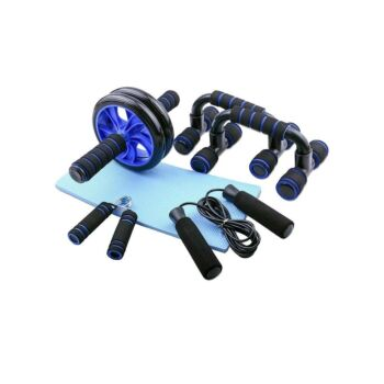 Abs Roller, Push-Up Bar, Skipping Rope, Hand Gripper and Knee Pad Bundle Home Gym Muscle Workout