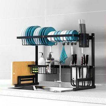 2-Tier 65cm Stainless Steel Kitchen Shelf Organizer Dish Drying Rack Over Sink