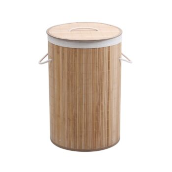 Sherwood Home Round Collapsible Bamboo Laundry Hamper With Polycotton Bag - Natural Brown