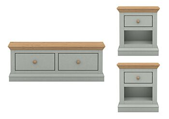 Cosmoliving Cottage Style Pine Effect Coffee Table /Drawer Storage 3 Pcs Set