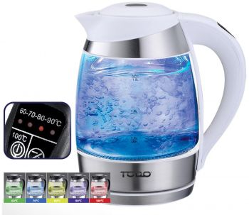 TODO 1.8L Glass Cordless Kettle Electric Blue Led Light Keep Warm 360 Jug White