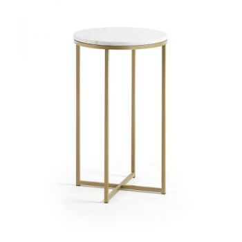 Sherry Round Side Table - Metal Gold Base - White Marble Top