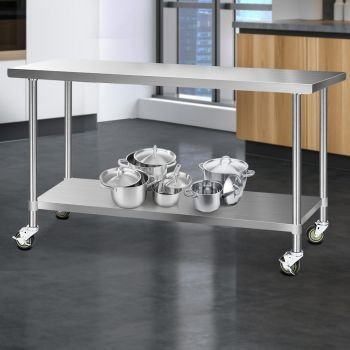 Cefito 1829x610mm Stainless Steel Kitchen Benches Work Bench Food Prep Table 304 Food Grade Stainless Steel w/ Wheels