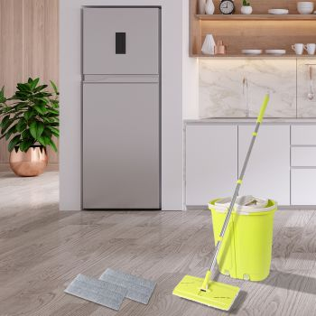 Flat Mop Bucket Floor Cleaner Set Stainless Steel Wet Dry Microfiber Mop Heads