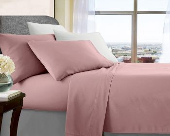 Queen Bed Soft Brushed Microfibre Sheet Sets in Rose Gold