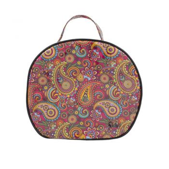 Retro Print Large Round Cosmetic Bag