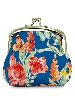 Beautiful Cloth Covered and Lined Coin Purse Tropical Butterflies
