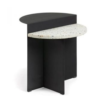 Clara Side Table - Black Metal - White Terrazzo Top