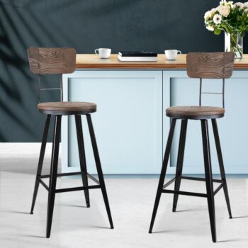 Artiss 2x Vintage Rustic Bar Stools Retro Swivel Bar Stool Industrial Chairs 66cm