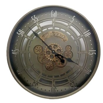 D60Cm Round Spin Time Modern Moving Cogs Clock - Grey