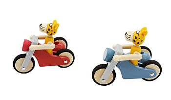 PRICE FOR 2 ASSORTED RETRO LGE MOTOR TRICYCLE WITH CUTE LEOPARD DRIVER