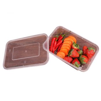 Take Away Plastic Container Boxes And Lids Pack 100pcs 500ml
