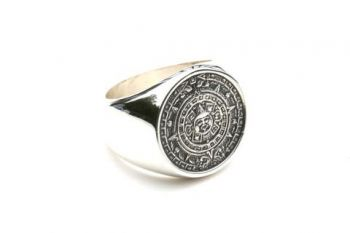 Mayan calendar signet ring - sterling silver size 14