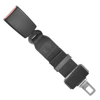 Seat Belt Extender Black Strap with Safety Buckle 2Pcs