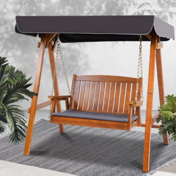 Wooden Swing Chair Hanging Chairs Hammock Outdoor Furniture 2 Seater Canopy Garden Bench Seat Patio Lounger Cushion Backyard Park Gardeon Teak