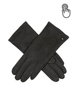 Women's Touchscreen Faux Suede Gloves with Faux Fur Cuffs