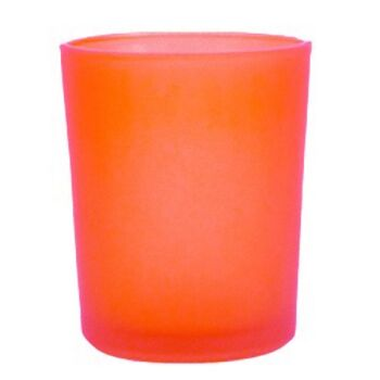 24 Pack - Orange Frosted Glass Table Tealight Votice Cup Candle Holder Party Theme Decoration