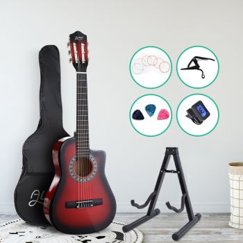 """Alpha 34"""" Inch Guitar Classical Acoustic Cutaway Wooden Ideal Kids Gift Children 1/2 Size Red w/ Capo Tuner"""