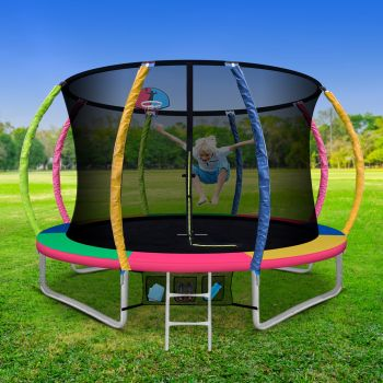 10FT Trampoline Round Trampolines With Basketball Hoop Kids Present Gift Enclosure Safety Net Pad Outdoor Multi-coloured