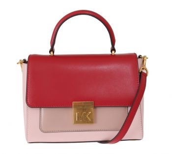 Michael Kors Red Pink MINDY Satchel Crossbody Bag