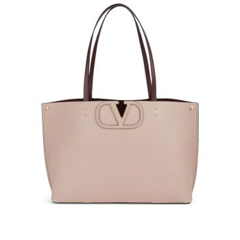 Valentino Small Fillme Leather Tote Bag in Beige