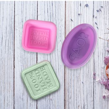 Soap Moulds Silicone 3D Shaped Mold DIY Handmade Tools Square Ellipse 50Pcs