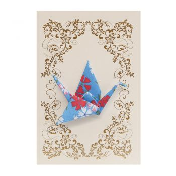 Small Card Crane Little Flowers Blue