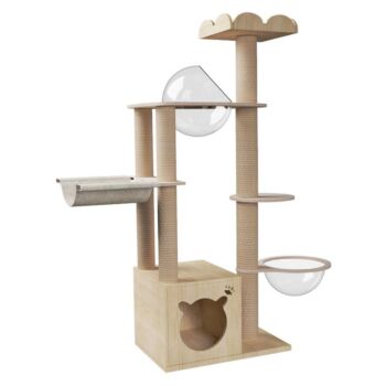 Large Wooden Cat Tree Cat Scratching Post Modern Cat Condo Furniture with Natural Sisal Rope