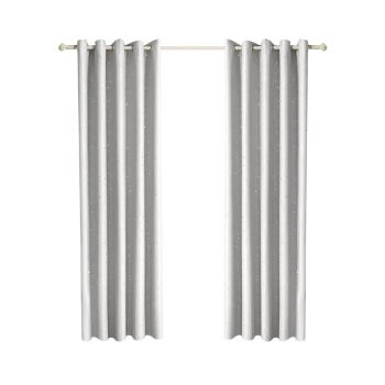 DreamZ Eyelet Curtains Star Blockout Curtain 3 Layers Large in Silver